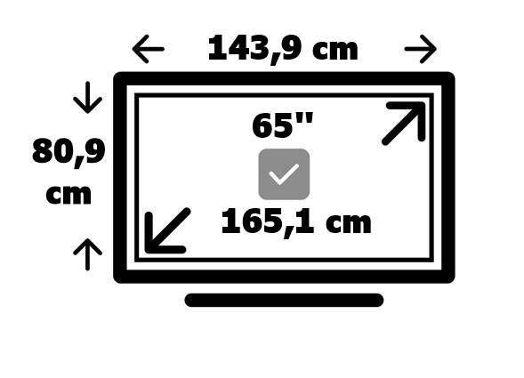 Dimensiones tv 65 pulgadas en cm