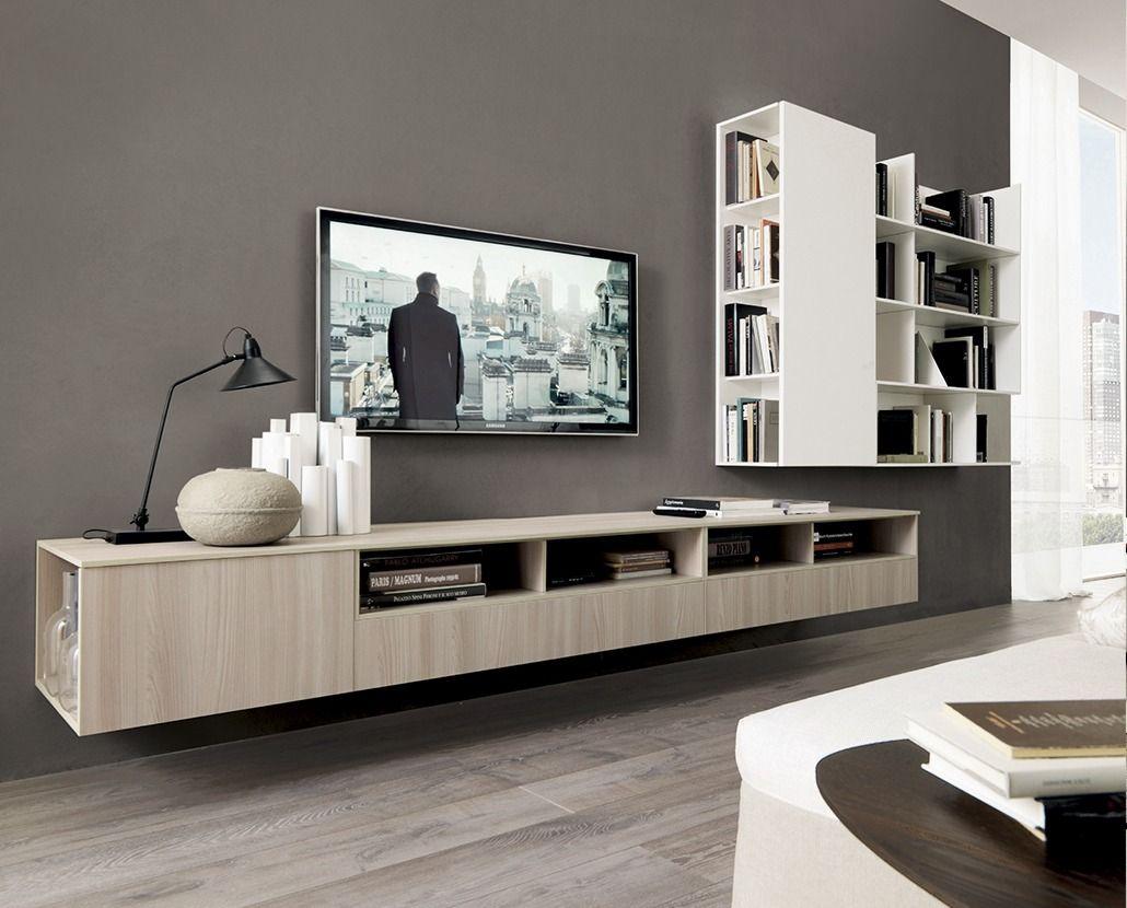 mueble tv colgante blanco