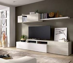 Mueble tele blanco gris modular